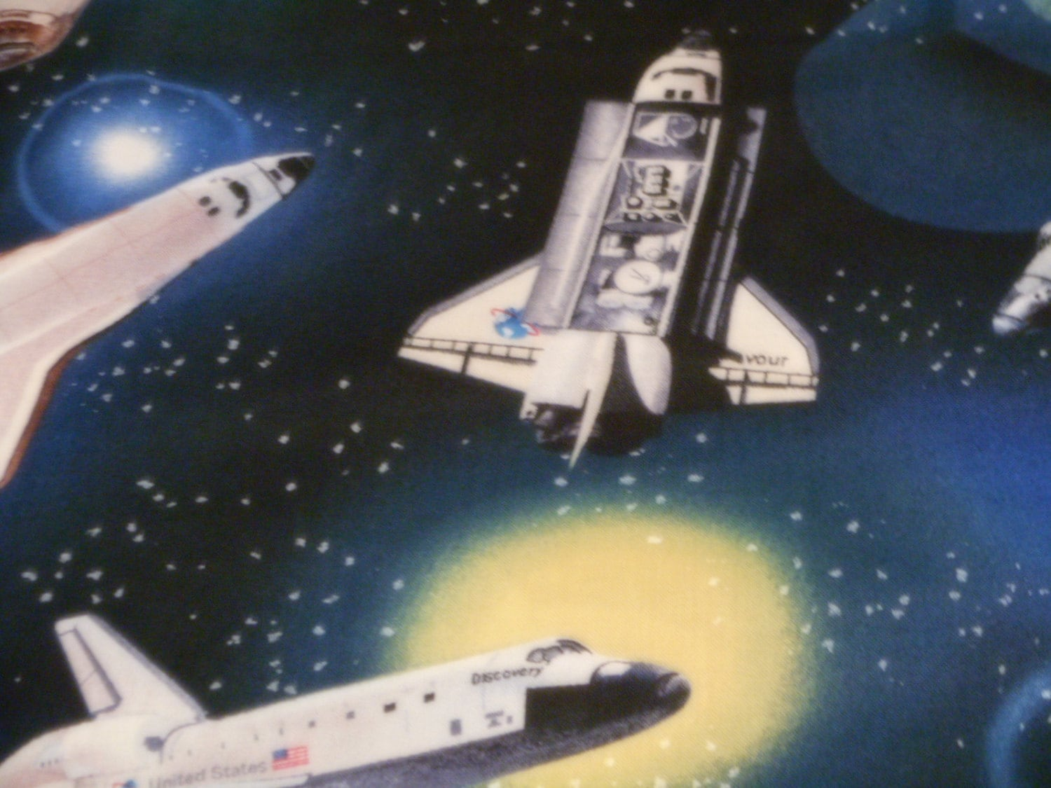 Beautiful 100 cotton space shuttle fabric 36 x for Space shuttle quilt