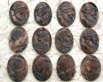Sale, Closeout, 12 Destash Pendants, 38 to 41mm Shell Cameo Pendants, Vintage Style Carved Shell Cameos, Destash Supplies  DS-685