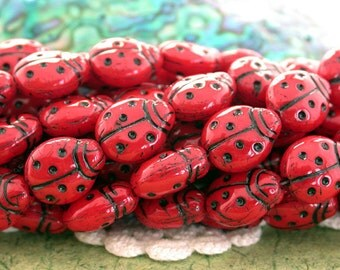 Sale Beads, Closeout Beads, Destash Beads, 1 Strand 14mm Czech Glass Red & Black LARGE Ladybug Beads, Bug Beads, Insect Beads  DS-CZ-590
