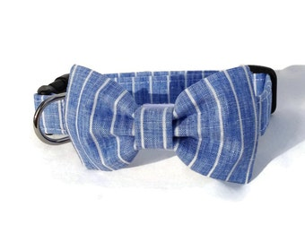 Dog Bow Tie and Collar Set in Blue and White Pinstripe Linen for Small to Large Dogs