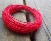 Fiber Wire Core Handspun Art Yarn 24 gauge wire Red Riding Hoods Wolf- Really! Really Red!