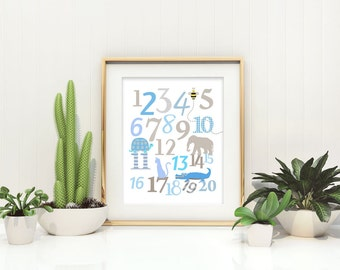 Number Nursery Art Print - Wall Art Poster for Baby or Kids Room - Typography - Nursery Decor - Kids Decor - 123 Print