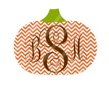 Fall Pumpkin Chevron Monogram Iron On Digital Download for iron-ons, heat transfer, Scrapbooking, Cards, Personalized, DIY, YOU PRINT