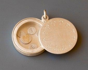 Sterling Silver name locket, personalized locket, modern locket, handmade locket, with delicate edging