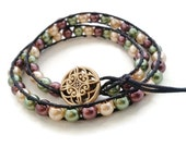 Woven Wrap Bracelet, Double Wrap Cotton Cord Bracelet, Glass Pearl Beads, Bead Wrap Bracelet