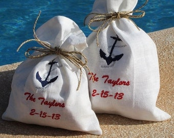 4 Wedding Favor Bags - Nautical Gift Bags - Linen/Cotton Bags - Shower Favor Bags - Embroidered Gift Bags - Bride Favor Bags