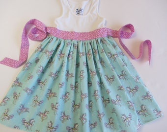 Handmade Boutique Carousel Ballerina Tank Twirl Dress sizes 12 months, 18 mos, 2, 3, 4, 5, 6, 7, 8, 10, 12, 14 Ponies Horses