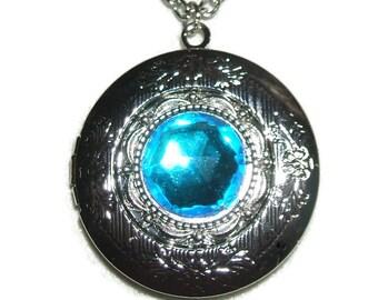 BERMUDA BLUE Necklace LOCKET Czech Glass Faceted Stone Silver Pltd Pendant