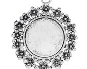 5 25mm Cabochon Frames - Pendants - Antique Silver - Carved Flowers - 52x42mm  - Ships IMMEDIATELY from California - SC1196a