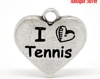 SALE I Love Tennis - Antique Silver - Carved Message  - 17x17mm - 5pcs - Ships IMMEDIATELY from California - SC1299