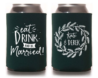 Custom Wedding Favor - Eat Drink & Be Married - Christmas/December Can Coolers