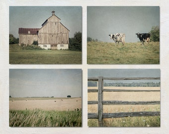 Rustic Wall Art Set of Four Prints, Country Photography, Farmhouse 4 Picture Set, Barn Photograph, Set, Neutral Nature Wall Decor
