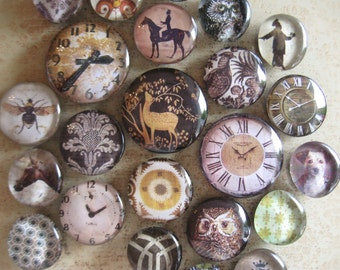 Vintage Clock Face Large Glass Magnet Set Eclectic Vintage Decor Black White Sepia Office Decor Organization Large Magnets Set Gift For Him