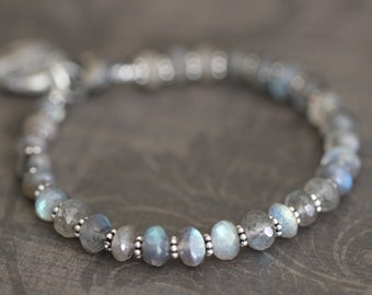 FLASH SALE Labradorite Bracelet, 7mm, Chunky, Flashy Blue, Gemstone Bracelet, Beaded Bracelet, Sterling Silver, Charm Bracelet, Layering Bra