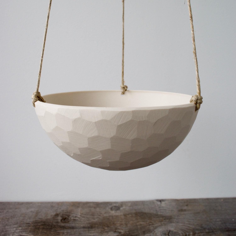 Hanging Ceramic Porcelain Planter Medium Size, Geometric Faceted or Smooth finish, choose Hemp or Leather Cording