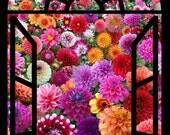 Elizabeth's Studio - Digital Screen Printed Fabric - Digital Garden - Window Panel