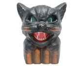 Vintage 1940's Black Cat on Fence Halloween Lantern, made with Pulp Paper Mache
