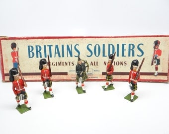 5 Vintage 1950's Old Britains Soldiers in Original Box, Lead Soldiers, Piper