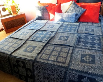 King Duvet Cover In Natural Hmong Indigo Batik Patchwork Cotton Quilt Blanket Bohemian Bedding, Free Shipping