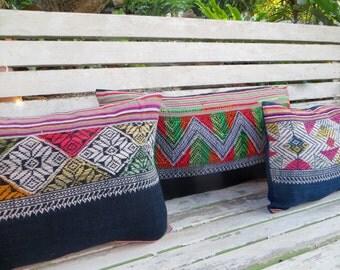 Lumbar Pillow In Vintage Laos Embroidery, Boho Cushion Cover, Colorful Rectangular Pillow, Laos Pillow Free Worldwide Shipping