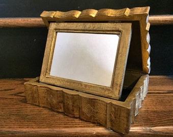 Vintage Carved Design Gold Italian Wood Box
