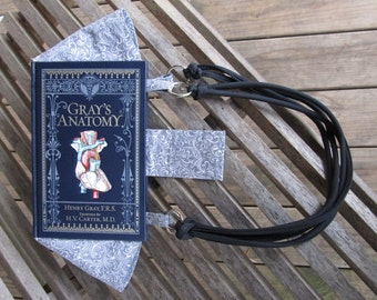 Book Purse: Gray's Anatomy - leather book - Made to Order