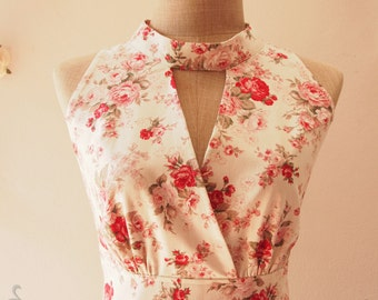 Floral Bridesmaid Dress, Exotic Rose Dress, White Floral Dress, High Neck Elegant Dress, Dreamy Fairy Tale Dress, Party Dress- XS-XL, Custom