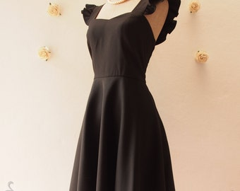 Olivia - Vintage Prom Dress in Black Little Black Dress Black Party Dress Black Ruffle Sleeve Dress Black Summer dress -XS-XL, Custom