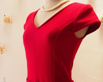 SALE - Sleeve Red Dress Red Tea Length Dress Modest Church Dress Working Dress Bridesmaid Wedding Dress Vintage Dress - S,M,L