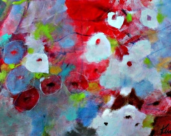"""Long Abstract Floral Painting, Original Artwork on Canvas, Red, Blue, Colorful, """"Gift of Flowers"""" 12x24"""