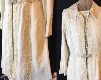Vintage 60s Linen Coat and Lace Dress Set Large U58