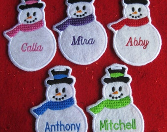 Personalized Snowman Ornament or Gift Tag