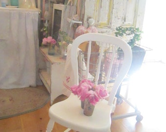 Shabby White chair chippy Vintage shabby chic farmhouse prairie