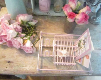 Vintage  pink metal mail  holder shabby chic cottage romantic prairie