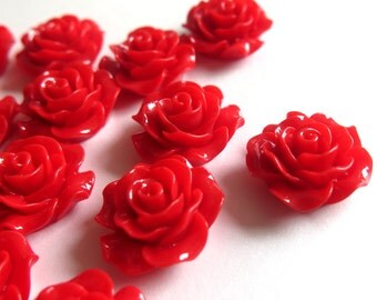 2 Pcs - 20mm Red Rose Cabochons