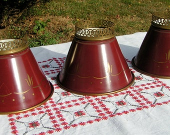 Vintage Brass Lampshades   Set of Three  -  1950s