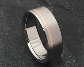 Rose Gold and Titanium Ring, Titanium Wedding Ring, Mens Titanium Band, Womens Titanium Ring, Titanium Band, Engagement Ring, Promise Ring