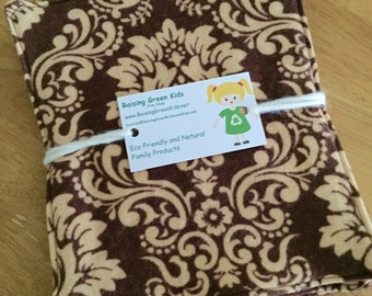 Cloth Unpaper Towels Damask Brown Reusable Flannel Baby Wipes Set of 4