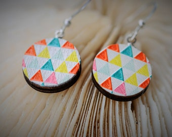 WOOD Dangle Earring - EMBOSSED Geometry Colorful Triangles ~ 16 mm - Women / Elegant /Modern