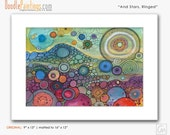 DoodlePainting ORIGINAL 16x12 Abstract Circles Watercolor in Mat: And Stars, Ringed