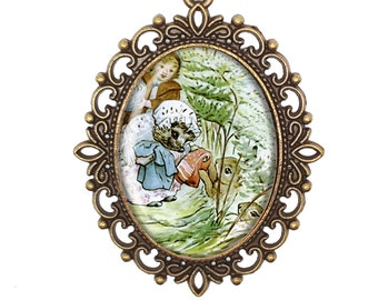 Beatrix Potter 'Mrs Tiggywinkle and Lucy' Vintage Inspired Bronze Silver Large Cameo Necklace Jewellery
