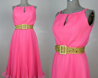 Vintage 1960s Pleated Chiffon Dress by Miss Elliette 60s Hot Pink Cocktail Dress Size 6 M