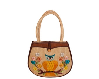 Straw Handbag by Patti Originals, Owl, 1960s Mod, Made in Phillipines,  orange, yellow, pink, blue and brown