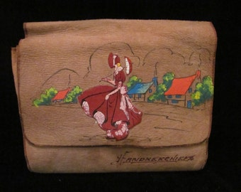 Vintage Suede Purse Handpainted Pouch w/ Victorian Woman & Set of 4 Multi-colored Cotton Handkerchiefs