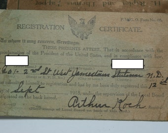 Antique WWI 1918 Military Registration Certificate