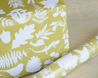 Botanical Wrapping Paper - 3 Sheets - In the Woods Wrap Yellow and White