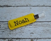 Yellow personalized Ice pop sleeve, Popsicle holder, freeze pop wrap.