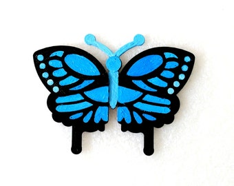 Magnets - Wall Art - Hand Oil Painted And 3D Print - Includes small pieces of Mount Tape As Alternative - Item Butterfly A