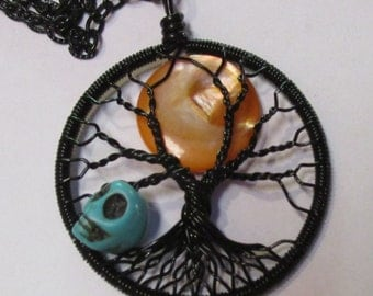Black Harvest Moon with Skully Man, October's Hunter Full Moon Wire Wrapped Tree of Life