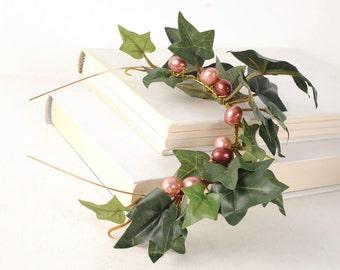 Ivy Woodland Crown, Green Leaf Headband, Wedding Hair Piece, Rustic Crown, Medieval Hair Band, Forest WeddingTwig Head Piece, Boho Crown
